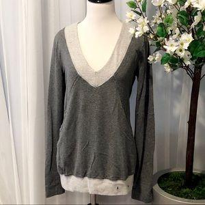 GUC Pink Lotus Gray V-neck Sweatshirt, XS